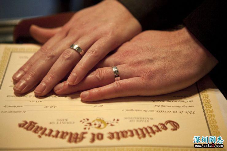 美国西雅图同性结婚人数位居全国第三