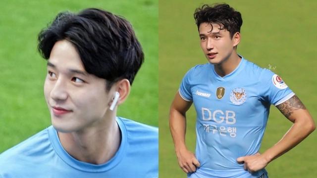 韩国足球小鲜肉22岁郑胜元 高颜值+巧克力腹肌帅气场上